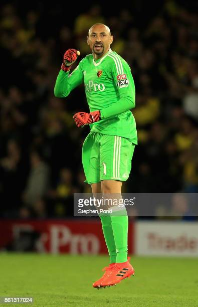 Heurelho Gomes of Watford celebrates as Tom Cleverley of Watford scores their second goal during the Premier League match between Watford and Arsenal...
