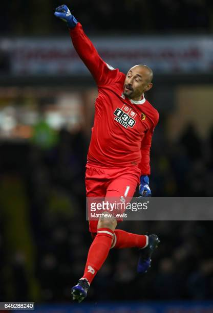 Heurelho Gomes of Watford celebrates as Troy Deeney of Watford scores the first goal during the Premier League match between Watford and West Ham...