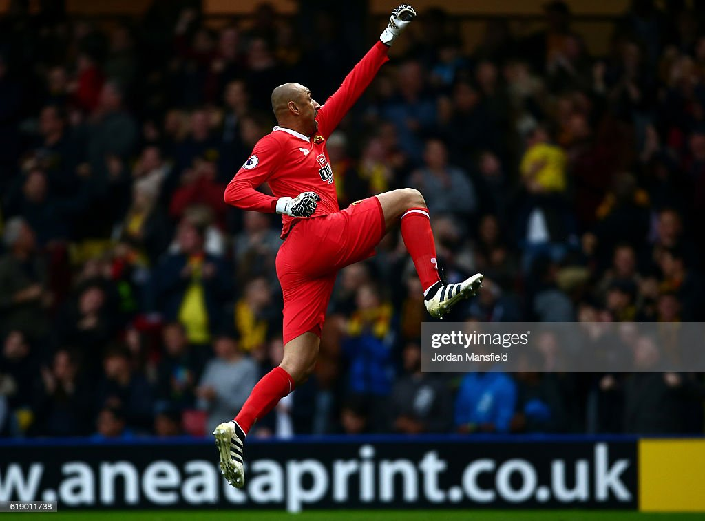 Heurelho Gomes of Watford celebrates his side first goal during the Premier League match between Watford and Hull City at Vicarage Road on October 29, 2016 in Watford, England.