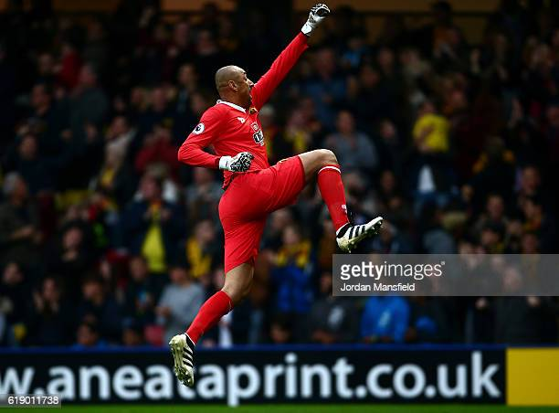 Heurelho Gomes of Watford celebrates his side first goal during the Premier League match between Watford and Hull City at Vicarage Road on October 29...