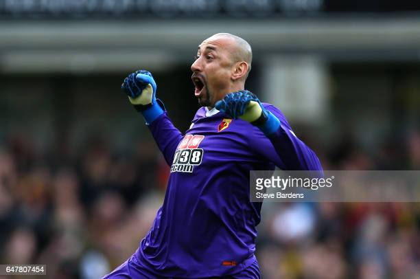 Heurelho Gomes of Watford celebrates his sides first goal during the Premier League match between Watford and Southampton at Vicarage Road on March 4...