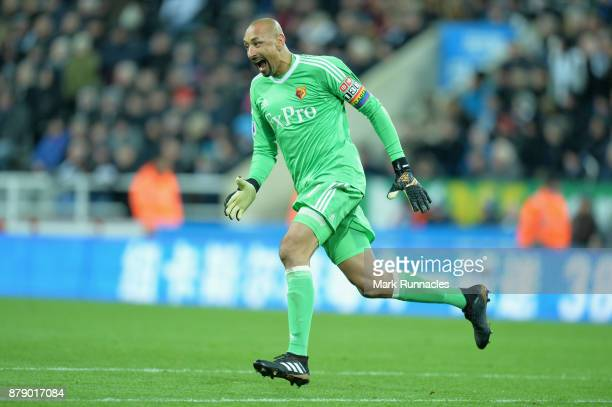 Heurelho Gomes of Watford celebrates his sides third goal during the Premier League match between Newcastle United and Watford at St James Park on...