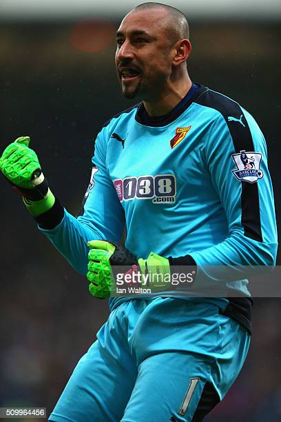 Heurelho Gomes of Watford celebrates his team's first goal during the Barclays Premier League match between Crystal Palace and Watford at Selhurst...