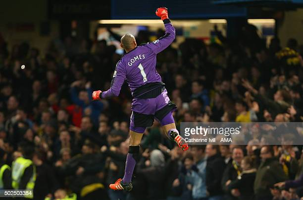 Heurelho Gomes of Watford celebrates in front of the Watford fans after Troy Deeney of Watford scores to make it 11 during the Barclays Premier...