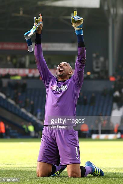 Heurelho Gomes of Watford celebrates victory after the Barclays Premier League match between West Bromwich Albion and Watford at The Hawthorns on...