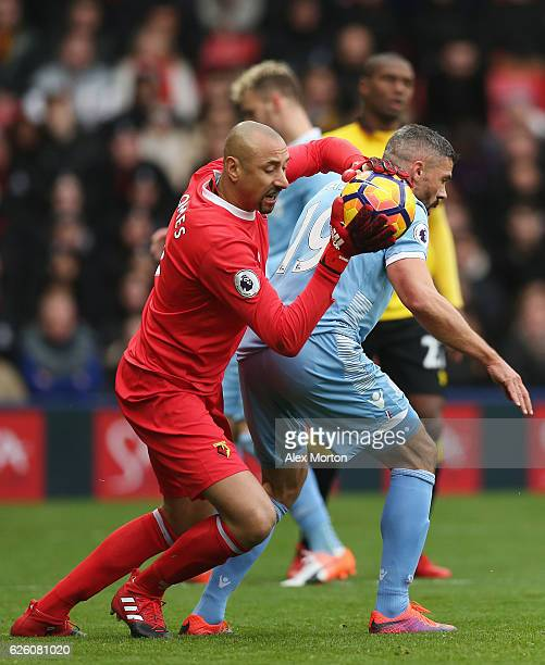 Heurelho Gomes of Watford collects the ball during the Premier League match between Watford and Stoke City at Vicarage Road on November 27 2016 in...