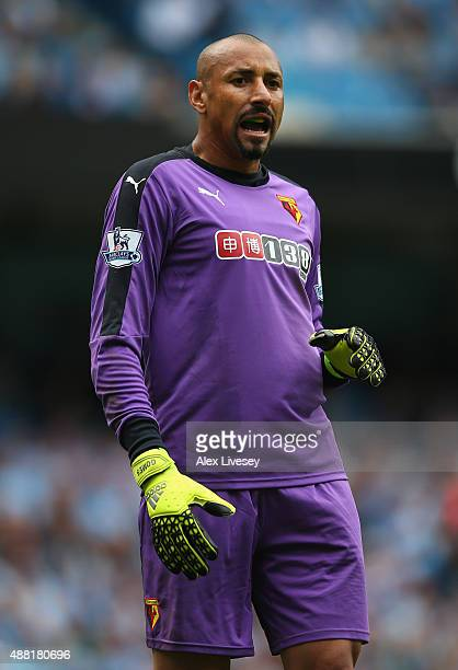 Heurelho Gomes of Watford during the Barclays Premier League match between Manchester City and Watford at Etihad Stadium on August 29 2015 in...