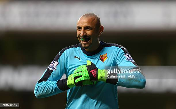 Heurelho Gomes of Watford during the Barclays Premier League match between Tottenham Hotspur and Watford at White Hart Lane on February 6 2016 in...