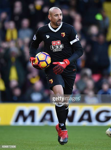 Heurelho Gomes of Watford during the Barclays Premier League match between Watford and Crystal Palace at Vicarage Road on December 26 2016 in Watford...