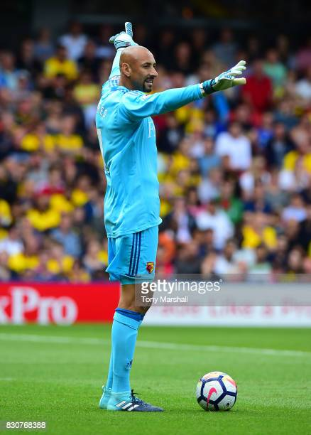 Heurelho Gomes of Watford during the Premier League match between Watford and Liverpool at Vicarage Road on August 12 2017 in Watford England