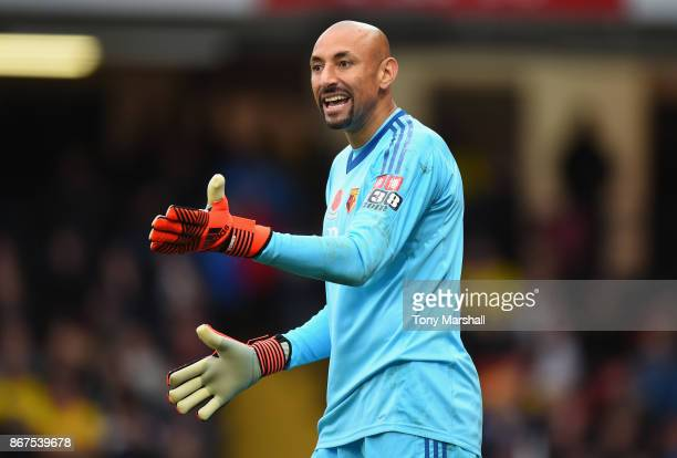 Heurelho Gomes of Watford during the Premier League match between Watford and Stoke City at Vicarage Road on October 28 2017 in Watford England