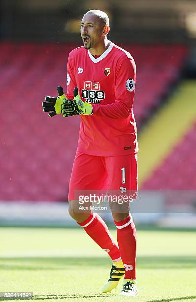 Heurelho Gomes of Watford during the preseason friendly match between Watford and Lorient at Vicarage Road on August 6 2016 in Watford England
