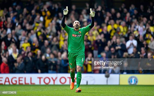 Heurelho Gomes of Watford FC celebrates Watford's 2nd goal during the Sky Bet Championship match between Watford and Middlesbrough at Vicarage Road...