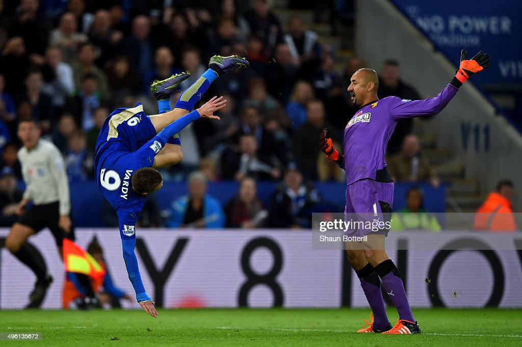 Heurelho Gomes of Watford fouls Jamie Vardy of Leicester City in the penalty area resulting in a penalty for Leicester during the Barclays Premier League match between Leicester City and Watford at The King Power Stadium on November 7, 2015 in Leicester, England.