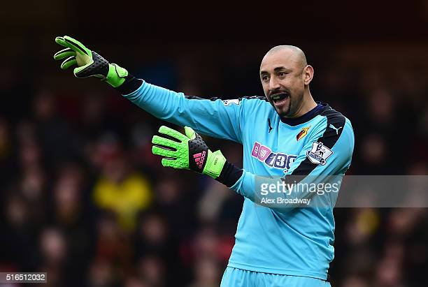 Heurelho Gomes of Watford gestures during the Barclays Premier League match between Watford and Stoke City at Vicarage Road on March 19 2016 in...