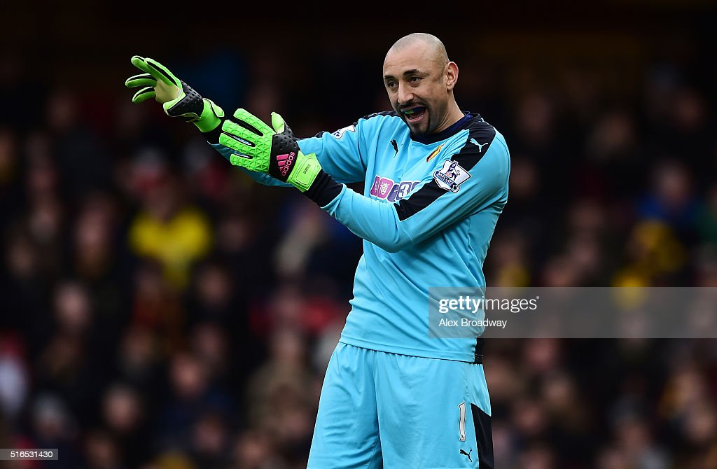 Heurelho Gomes of Watford gestures during the Barclays Premier League match between Watford and Stoke City at Vicarage Road on March 19, 2016 in Watford, England.