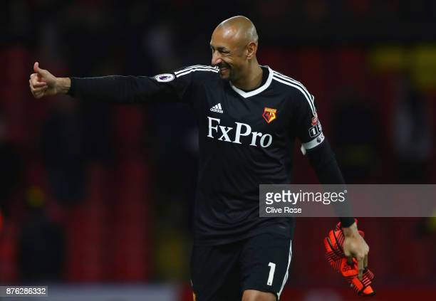 Heurelho Gomes of Watford gives a thumbs up in victory after the Premier League match between Watford and West Ham United at Vicarage Road on...