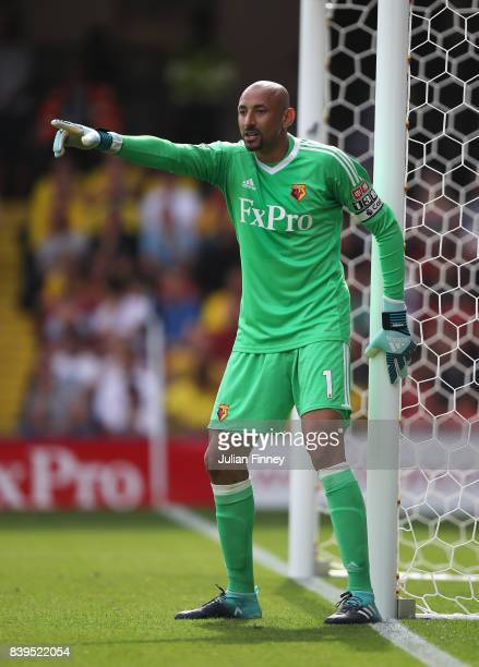 Heurelho Gomes of Watford gives his team instructions during the Premier League match between Watford and Brighton and Hove Albion at Vicarage Road...