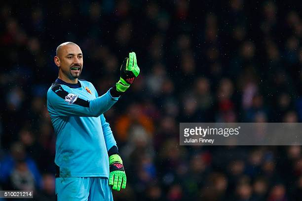 Heurelho Gomes of Watford gives instructions during the Barclays Premier League match between Crystal Palace and Watford at Selhurst Park on February...