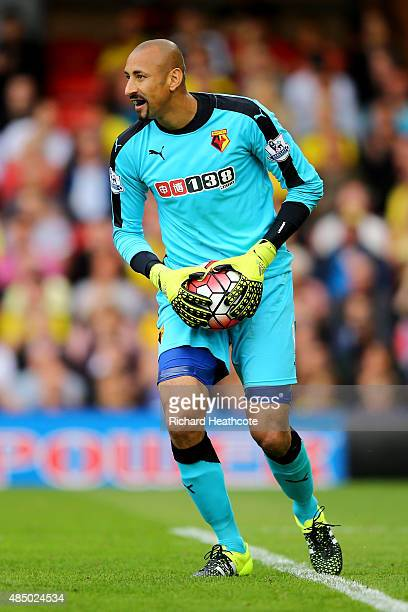 Heurelho Gomes of Watford in action during the Barclays Premier League match between Watford and Southampton at Vicarage Road on August 23 2015 in...