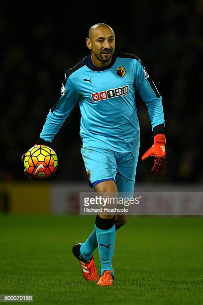 Heurelho Gomes of Watford in action during the Barclays Premier League match between Watford and Norwich City at Vicarage Road on December 5 2015 in...