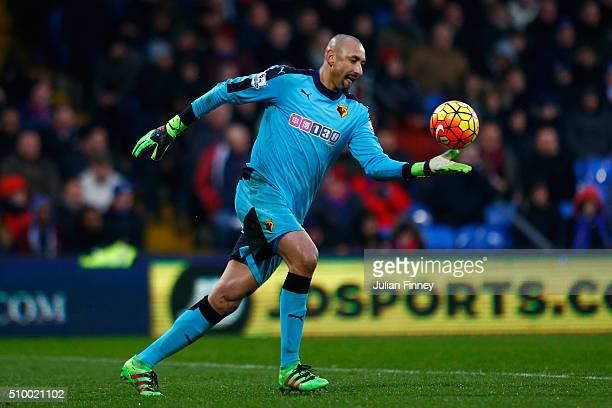 Heurelho Gomes of Watford in action during the Barclays Premier League match between Crystal Palace and Watford at Selhurst Park on February 13 2016...
