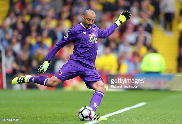Heurelho Gomes of Watford in action during the Premier League match between Watford and Manchester United at Vicarage Road on September 18 2016 in...