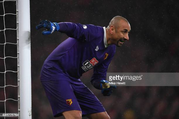 Heurelho Gomes of Watford in action during the Premier League match between Arsenal and Watford at Emirates Stadium on January 31 2017 in London...