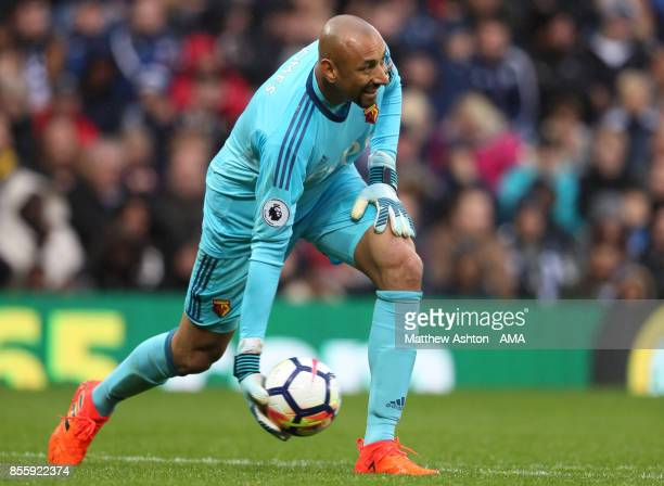 Heurelho Gomes of Watford in action during the Premier League match between West Bromwich Albion and Watford at The Hawthorns on September 30 2017 in...