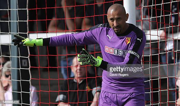 Heurelho Gomes of Watford issues instructions during the pre season friendly match between Woking and Watford at The Laithwaite Community Stadium on...