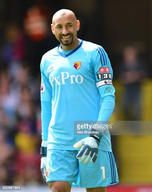 Heurelho Gomes of Watford looks on during the during the Premier League match between Watford and Liverpool at Vicarage Road on August 12 2017 in...