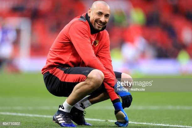 Heurelho Gomes of Watford looks on during the warm up prior to the Premier League match between Manchester United and Watford at Old Trafford on...