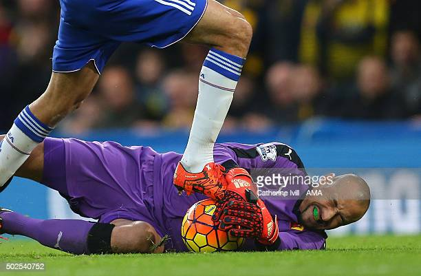 Heurelho Gomes of Watford make a save during the Barclays Premier League match between Chelsea and Watford at Stamford Bridge on December 26 2015 in...