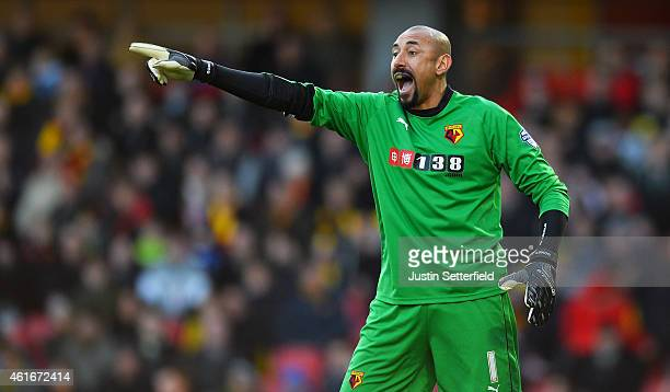 Heurelho Gomes of Watford makes a point during the Sky Bet Championship match between Watford and Charlton Athletic at Vicarage Road on January 17...