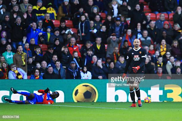 Heurelho Gomes of Watford reacts after fouling Christian Benteke of Crystal Palace in the box and conceding a penalty during the Premier League match...