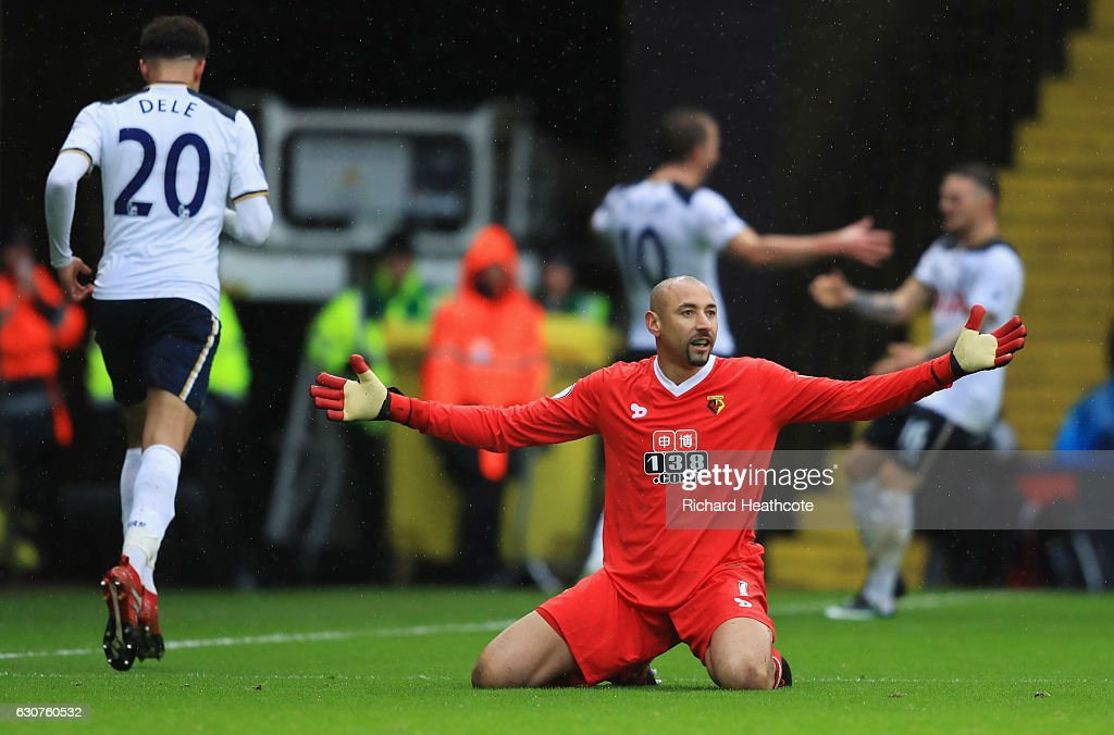 Heurelho Gomes of Watford reacts as Harry Kane of Tottenham Hotspur (10) scores their first goal during the Premier League match between Watford and Tottenham Hotspur at Vicarage Road on January 1, 2017 in Watford, England.
