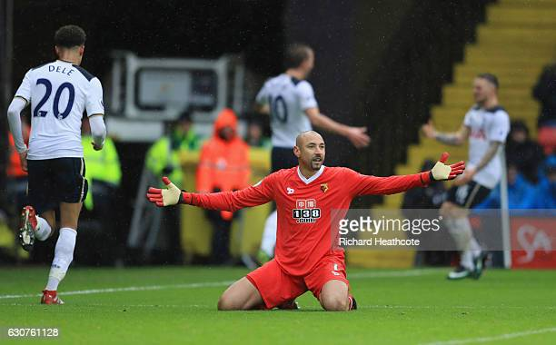 Heurelho Gomes of Watford reacts as Harry Kane of Tottenham Hotspur scores their first goal during the Premier League match between Watford and...