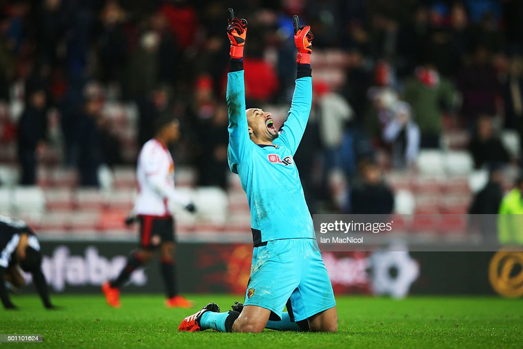 Heurelho Gomes of Watford reacts during the Barclays Premier League match between Sunderland and Watford at The Stadium of Light on December 12, 2015 in Sunderland, England.