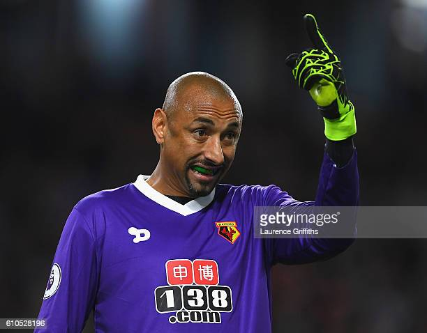 Heurelho Gomes of Watford reacts during the Premier League match between Burnley and Watford at Turf Moor on September 26 2016 in Burnley England