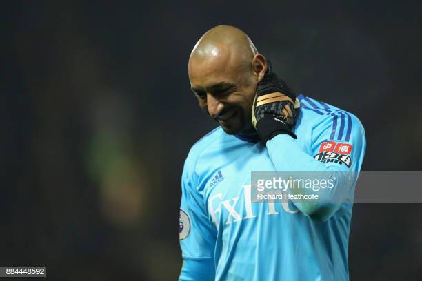 Heurelho Gomes of Watford reacts during the Premier League match between Watford and Tottenham Hotspur at Vicarage Road on December 2 2017 in Watford...
