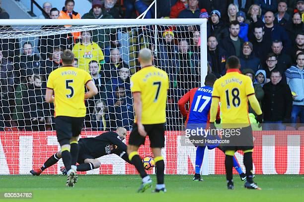 Heurelho Gomes of Watford saves a penalty from Christian Benteke of Crystal Palace during the Premier League match between Watford and Crystal Palace...