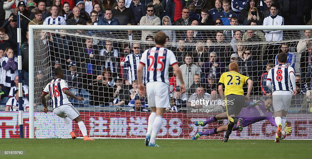 Heurelho Gomes of Watford saves a second penalty by Saido Berahino of West Bromwich Albion during the Barclays Premier League match between West Bromwich Albion and Watford at The Hawthorns on April 16, 2016 in West Bromwich, England.