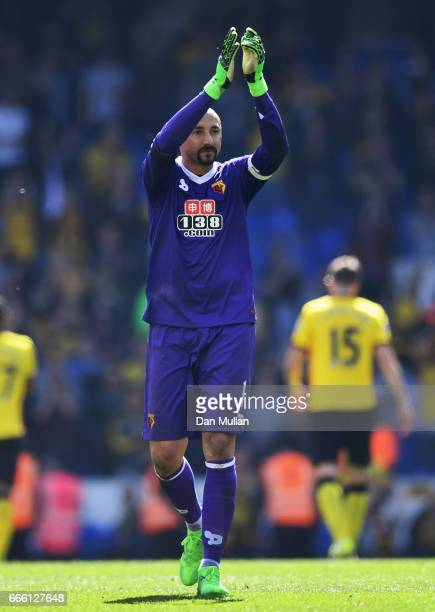 Heurelho Gomes of Watford shows appreciation to the fans after the Premier League match between Tottenham Hotspur and Watford at White Hart Lane on...