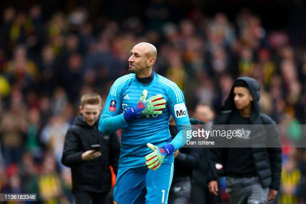 Heurelho Gomes of Watford shows his appreciation to the home fans after victory in the FA Cup Quarter Final match between Watford and Crystal Palace...