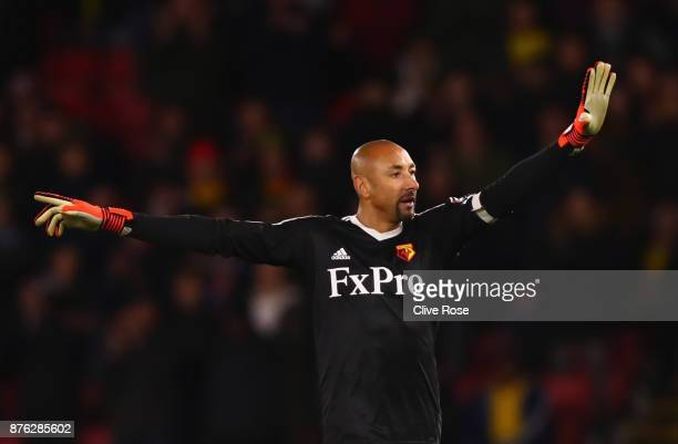 Heurelho Gomes of Watford signals during the Premier League match between Watford and West Ham United at Vicarage Road on November 19 2017 in Watford...