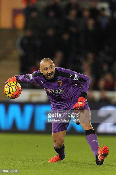 Heurelho Gomes of Watford wearing a Brazil gum shield during the Barclays Premier League match between Swansea City and Watford at the Liberty...