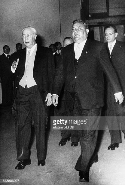 Heuss Theodor *31011884 Politician FDP Germany Federal President 19491959 with Carlo Schmid 1954 Photographer Charlotte Willott Vintage property of...