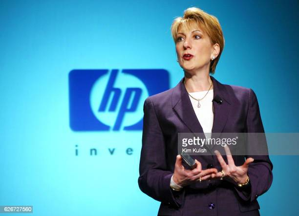 Hewlett Packard CEO Carly Fiorina speaks during a news conference at HP offices in Cupertino to detail the integration of the former Compaq Computer...