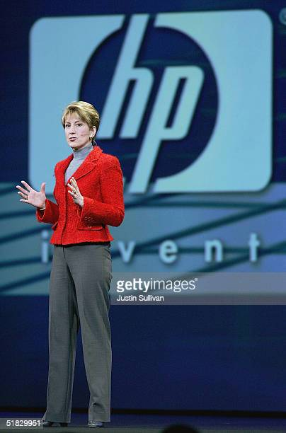 Hewlett-Packard CEO Carly Fiorina delivers a keynote address at the 2004 Oracle OpenWorld Conference on December 6, 2004 in San Francisco. The annual...