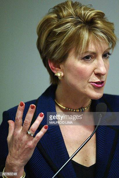 Hewlett-Packard's Worldwide Chairwoman, Carly Fiorina, delivers a speech during a visit to the company's factory in Barueri, north of Sao Paulo,...